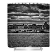 Stockholm In Black And White Shower Curtain