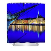 Stockholm Old City Blue Hour Serenity Shower Curtain