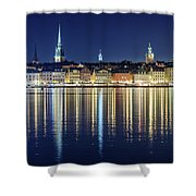 Stockholm Old City Magic Quartet Reflection In The Baltic Sea Shower Curtain