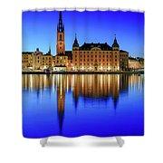Stockholm Riddarholmen Blue Hour Reflection Shower Curtain