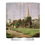 Stoke Poges Church Shower Curtain by Jasper Francis Cropsey