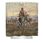Stolen Horses Shower Curtain by Charles Marion Russell