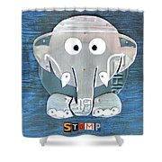 Stomp The Elephant Recycled License Plate Animal Art Shower Curtain