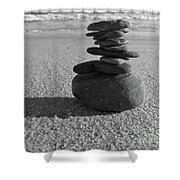 Stone Balance On The Beach In Monochrome Shower Curtain