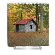 Stone Building In Autumn Shower Curtain