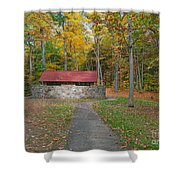 Stone Building In The Park Shower Curtain