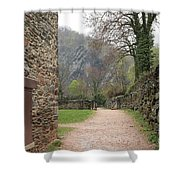 Stone Building Wall And Fence Shower Curtain