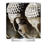 Stone Carved Buddha Faces Shower Curtain