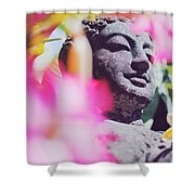 Stone Carved Statue Of Buddha Surrounded With Colorful Flowers Bali, Indonesia Shower Curtain