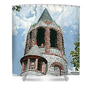 Stone Church Bell Tower Shower Curtain by Dominic White