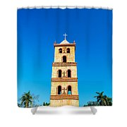 Stone Church Bell Tower Shower Curtain