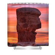 Stone Face Sunset Shower Curtain