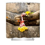 Stone Hand Of Buddha Shower Curtain by Adrian Evans
