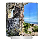 Stone House Sea Side Shower Curtain