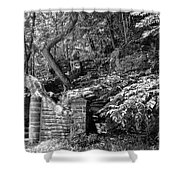 Stone Stairway Along The Wissahickon Creek In Black And White Shower Curtain
