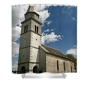 Stone Tile Roof Of The Church Of The Holy Cross In Tomaj Parish  Shower Curtain