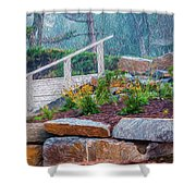 Stone Wall And Stairs Shower Curtain