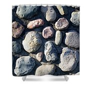 Stone Wall At Gallup Park Shower Curtain