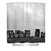 Stonehenge - B/w 2 Shower Curtain