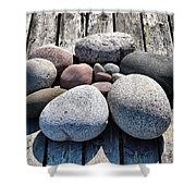 Stones And Old Wood 3  Shower Curtain