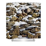 Stones And Snow Shower Curtain