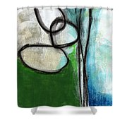 Stones- Green And Blue Abstract Shower Curtain