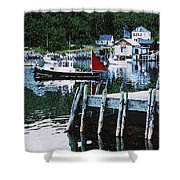 Stonington Harbor With Pier Maine Coast Shower Curtain