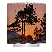 Stop Right Here - Rocky Mountain Np - Sunrise Shower Curtain