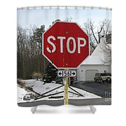 Stop Sign Shower Curtain
