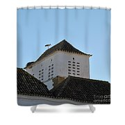 Stork And Nest On Roof In Faro. Portugal Shower Curtain