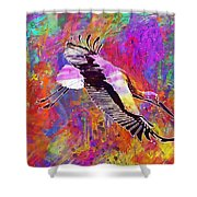 Stork Fly Elegant Feather Bird  Shower Curtain