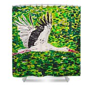 Stork In Flight Shower Curtain