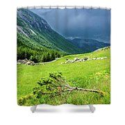 Storm Approaching Over Beautiful Green Field In Norway Shower Curtain