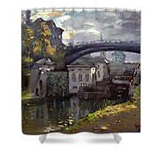 Storm Aproach At Lockport Locks Shower Curtain