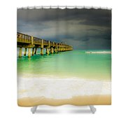 Storm Arrives At The Pier Shower Curtain
