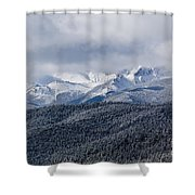 Storm Clouds Receding And Fresh Snow On Pikes Peak Shower Curtain
