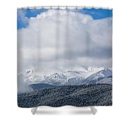 Storm Clouds And Snow On Pikes Peak Shower Curtain