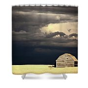 Storm Clouds Behind Abandoned Saskatchewan Barn Shower Curtain