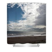 Storm Clouds Clearing The Beach With Wind Farm In The Background Skegness Lincolnshire England Shower Curtain