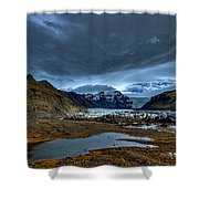 Storm Clouds Over A Glacier - Iceland Shower Curtain