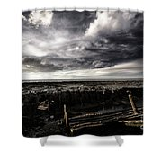 Storm Clouds Over Beached Shipwreck Shower Curtain