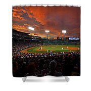 Storm Clouds Over Fenway Park Shower Curtain