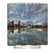 Storm Clouds Over Portland Skyline During Sunset Shower Curtain