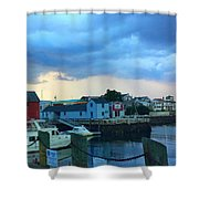 Storm Clouds Over Rockport Harbor Shower Curtain