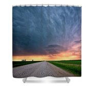 Storm Clouds Over Saskatchewan Country Road Shower Curtain