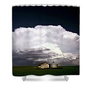 Storm Clouds Over Saskatchewan Granaries Shower Curtain