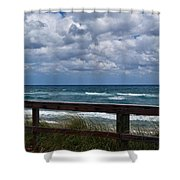 Storm Clouds Over The Beach Shower Curtain