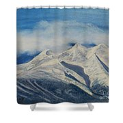 Storm Clouds Over Winter Mountain Blues Shower Curtain