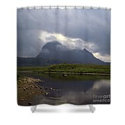 Storm Clouds Passing Across Suilven  And Fion Loch Near Ullapool Ross And Cromarty Scotland Shower Curtain