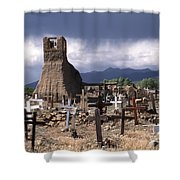 Storm Over Taos Graveyard Shower Curtain